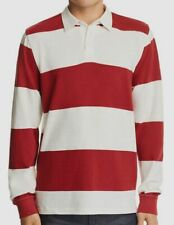 $197 Pacific & Park Men's Red White Striped Rugby Long-Sleeve Polo Shirt Size M