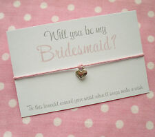 Will You Be My Bridesmaid? Heart Charm Wish Friendship Bracelet & Envelope Pink