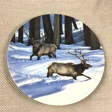 Vintage Porcelain Plate Elk Hunting Winter Canadian Dominion China Paul Krapf