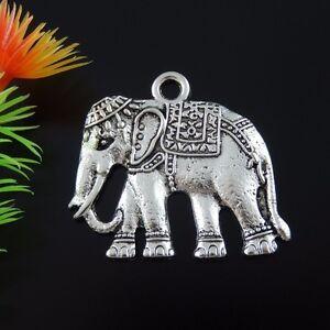 Silber Ton Legierung Elefant Form Charme Anhänger Schmunck 10 Stück 40*35*3mm