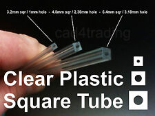 Clear Plastic Square Tube Round Hole 250mm Computer Mod Model Making Jewellery