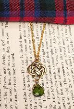 Outlander Antique Gold Celtic Knot Cross Crystal Scottish Irish Necklace Chain
