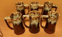 "Vintage Brown Drip Glaze TAPERED Coffee/Beer MUG CUPS Set of 6 Lg Handle 6""Tall"