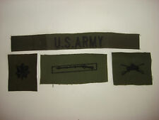 U.S. ARMY Subdued Pocket Tape + 3 subdued Collar Devices Patches Unworn