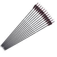 "6/12/24PCS 31"" Archery Carbon Arrows Spine 340 F Compound/Recurve Bow Hunting"