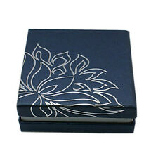 72pc Square MarineBlue Color Cardboard Bracelet Gift Boxes with Lotus 90x90x35mm
