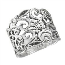 Sterling Silver Textured Filigree Wide Band Ring - Free Gift Packaging