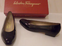 SALVATORE FERRAGAMO Designer Black Heels Pump Court Shoes Size US 7.5 EU 38 UK 5
