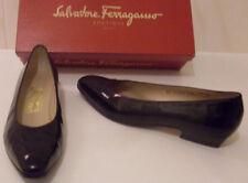 FERRAGAMO Designer Italy Black Ballet Court Shoes Narrow US 7.5 AA UK 5 EU 38