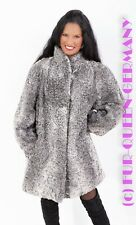 M-L CHIC SILVER BROADTAIL LAMB LONG FUR JACKET A-LINE with stand up collar