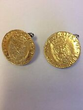Pair of Cufflinks Made From English Pewter Mary Queen Of Scots Coin Wc38A Gold
