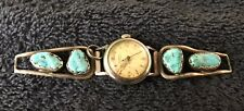 Sterling Silver ~20 grams Light Blue Veined Turquoise Stones on Watch Bands
