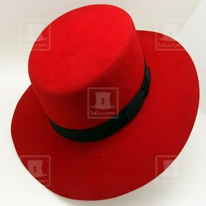 CLASSIC Wool Felt Women Boater Top Hat Wide Brim Stiff Brim FORMAL   Red   S M