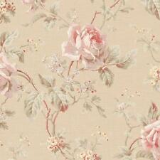 Wallpaper Designer Pink Rose Trail and Floral Vine on Beige Background