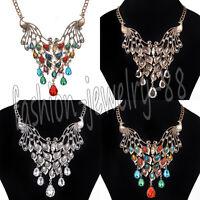 Fashion Rhinestone Peacock Statement Bib Chain Choker Pendant Necklace Jewelry