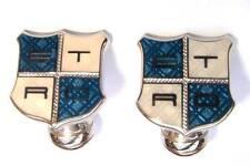 ETRO Shield Cuff links White & blue Enamel  groom wedding