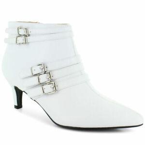 Sophia Taylor - Ladies White Kitten Heel Ankle Boots - Size 14 Wide Width