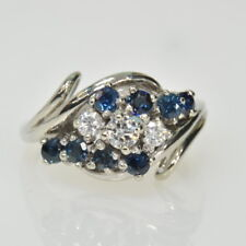14k White Gold Blue Sapphire & 1/4Ctw Diamond Cocktail Cluster Dinner Ring