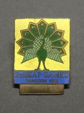 Vintage 1961 Burma Myanmar Rangoon Peninsular SEAP Games Peacock Pin Badge B935
