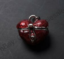 1pcs Tibetan Silver Heart-Shaped Box Charm Pendants 17X17MM CA380