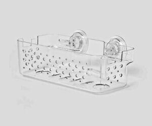 Room Essentials Medium Power Lock Suction Basket Bathroom Caddy Clear