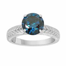 1.40 Carat Enhanced Blue Diamond Solitaire Engagement Ring 14k White Gold Unique