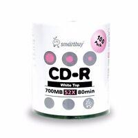 Smartbuy CD-R 52X 700MB/80Min White Top (Non-Printable) Blank Media Record Disc