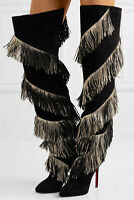 New Authentic Christian Louboutin Bolcheva 120 Fringed Suede Over-the-Knee Boots