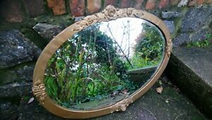 Antique Arts And Crafts Metal Framed Mirror With Roses, Beveled Edged Mirror