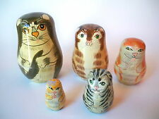 Set Of 5 Russian Hand Painted Wood Nesting Cat Dolls