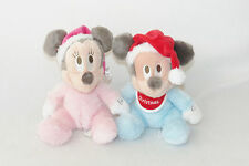 "Baby's 1st Christmas Minnie Mickey Mouse Plush Santa Hat Toy 10"" Disney Park LOT"