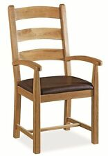Carbis Oak Carver Dining Chair With Padded Faux Leather Seat