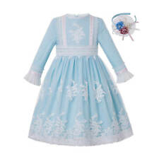Lace Flower Girls Princess Dress Bridesmaid Party Pageant Formal Prom Blue 3-12