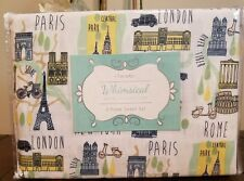 Whimsical Hotel Collection 3 pc XL Twin Globetrotter Pastel Sheet Set PARIS ROME