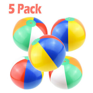 5 Pack Inflatable Beach Ball Rainbow Color Pool Party Favors Summer Water Toy