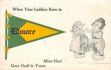 """Mine Heart Goes Out to Youse"" in Edmore Michigan~1913 Pennant Postcard"