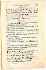 Stampa antica ANTIFONARIO SALTERIO MUSICA CANTO GREGORIANO F.305 1663 Old print