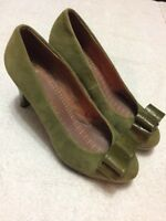 Miss Albright Women's Green Bow Toe High Heels Slip On Dress Shoes Size Sz 7 1/2