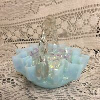 "Beautiful Light Blue Opalescent 5"" Fenton Basket Clear Twist Applied Handle"