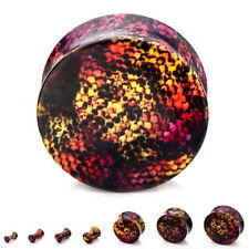 Pair-Snakeskin Colorful Acrylic Double Flare Ear Plugs 05mm/4 Gauge Body Jewelry