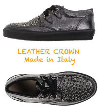 $298 LEATHER CROWN HANDMADE IN ITALY WOMEN'S  WEDGE PLATFORM SNEAKERS. SZ 38/8M