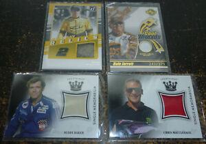NASCAR Lot of 4 Jersey Card Material Card Lot Buddy Baker, Dale Jarrett Etc.