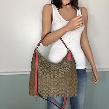 NEW! COACH Signature Hobo Convertible Shoulder Crossbody Bag Khaki Strawberry