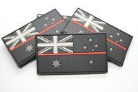 PVC Thin Red Line / Fire Brigade Australia Flag Patch - Hook & Loop