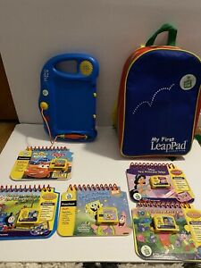 LeapFrog My First Leap Pad 5 books and 5 cartridges & backpack