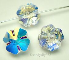 4x SWAROVSKI 5752 CLEAR CRYSTAL AB Clover Spacer Bead 8mm