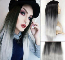 Lady Gray+Black Cosplay Party Wigs Women's Full Long Straight Wig+Cap Perruques