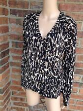 CAbi Faux Wrap Top Size L Large #131 Leopard Animal Print Long Sleeve Women