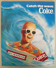 "Max Headroom Coke Catch the Wave Poster 14"" x 17"" Surf Coca Cola Unused 1986"