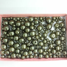 200 Assorted Sizes 4mm 6mm 8mm 10mm Glass Pearl Beads Anti Brass
